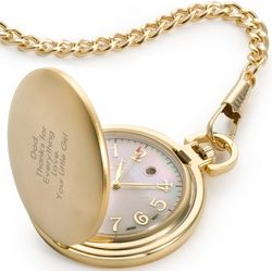Engravable Gold Pocket Watch with Mother of Pearl Face