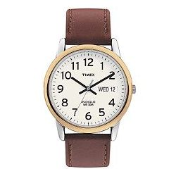 Two-Tone Leather Band Watch