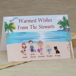 Beach Family Characters Personalized Christmas Cards