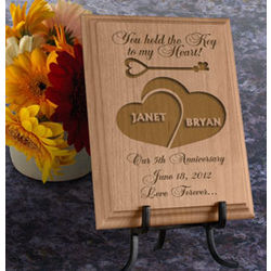 Personalized Key to My Heart Wooden Plaque