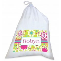 Personalized Green and Pink Doily Pattern Laundry Bag