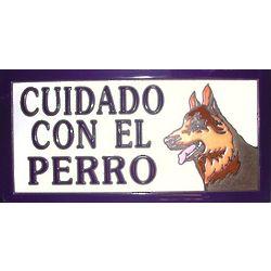Handmade Cuidado con el Perro Ceramic Tile Sign