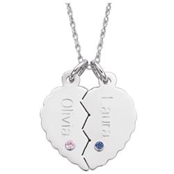 Personalized Name and Birthstone Breakable Heart Necklace