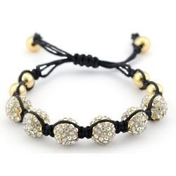 Shamballa Inspired 6 Pave' Crystal and Gold Bead Bracelet