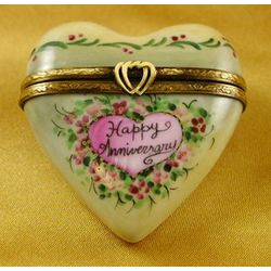 Happy Anniversary Heart-Shaped Limoges Box