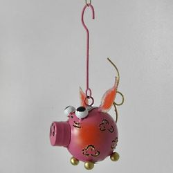 Metal Space Pig Ornament
