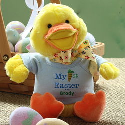 Boy's Personalized My First Easter Duck Stuffed Animal