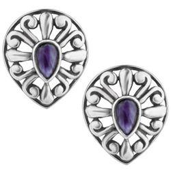 Southwest Spirit Charoite Button Earrings