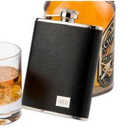 Black Textured Leather Flask