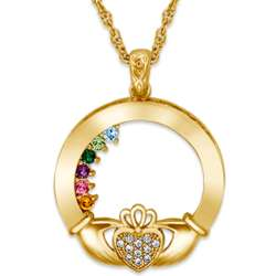 Gold Plated Claddagh Birthstone and Cubic Zirconia Pendant