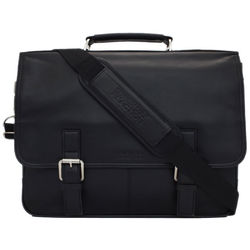 Porty Favor Black Leather Briefcase