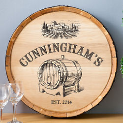 Personalized Barrel of Vino Wood Sign
