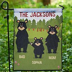 Personalized Bear Family Icon Garden Flag