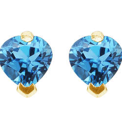 Blue Topaz Heart Shaped Studs in 14K Gold