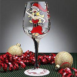 Santa's Helper Christmas Wine Glass