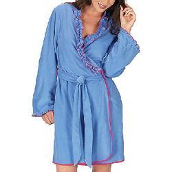 Betsey Johnson Blue Dahlia Ruffled Robe
