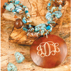 Engraved Wood Pendant on Chunky Turquoise Necklace with Earrings