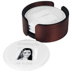 Engraved Round Glass Photo Coasters
