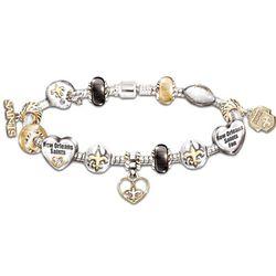 Go Saints! #1 Fan Charm Bracelet with Swarovski Crystals