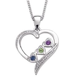 Sterling Silver Sister's Heart Three Birthstone Necklace