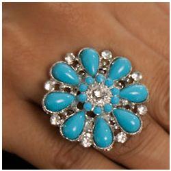 Boho Rhinestone Flower Stretch Ring