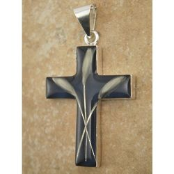 Sterling Silver Cross Pendant with Real Wheat on Dark Blue
