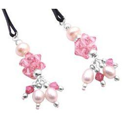 Handmade Pink Swarovski Crystal & Pearl Wedding Hair Pins