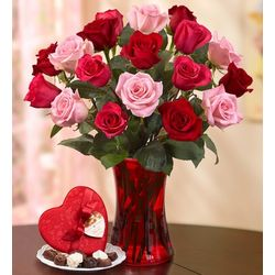Roses Bouquet with Vase and Chocolate