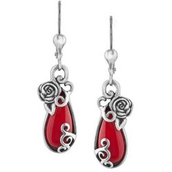 American West Spanish Red Coral Rose Dangle Earrings