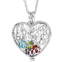 Love You Moon and Back 4mm Heart Birthstone Locket