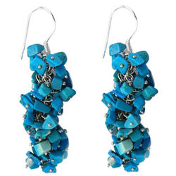 Turquoise Sterling Silver Bead Earrings