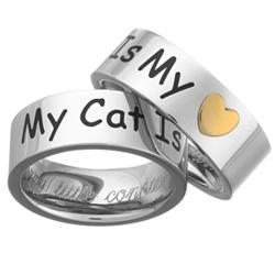 'My Cat Is My Heart' Stainless Steel Engraved Pet Ring