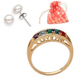 Birthstone I Love You Family Ring with Pearl Earrings