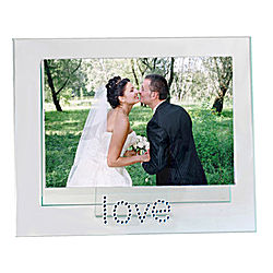 Jeweled Love Glass Picture Frame