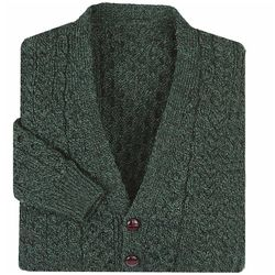 V-Neck Aran Green Cardigan