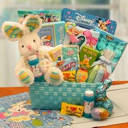 Little Cottontails Easter Activity Easter Basket in Blue