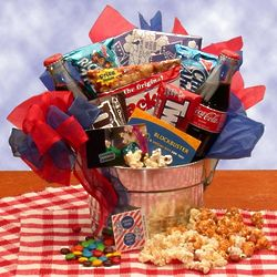 Movie Night Gift Pail with Twenty Five Dollar Blockbuster Card