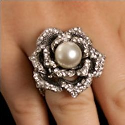 Enchanted Faux Pearl and Crystal Rose Stretch Ring