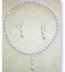 White Pearl and Crystal Necklace and Earrings