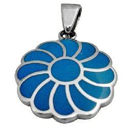Sterling Silver Turquoise Flower Pendant