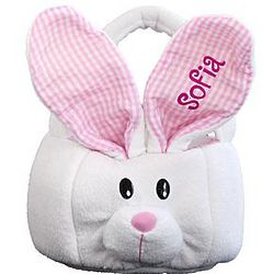 Personalized Pink Ear Bunny Plush Basket