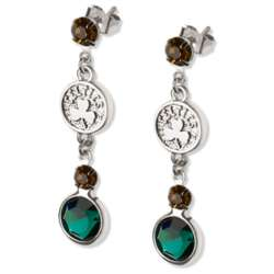 Crystal Earrings with Boston Celtics Logo Charm