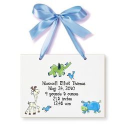 Personalized Zoo Animals Birth Announcement