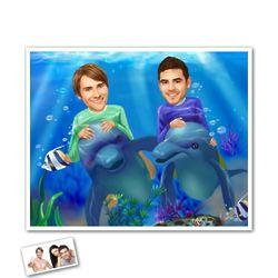 Underwater Adventure Pals Personalized Caricature Art Print