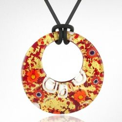 Gold Murano Glass Pendant Necklace