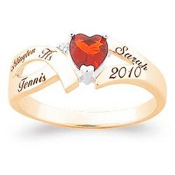 Split Band Birthstone Heart Class Ring