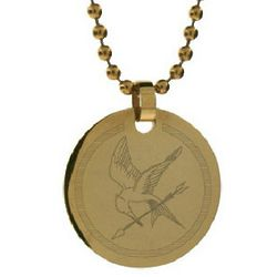 Hunger Games Inspired Gold Tag Mockingjay Pendant