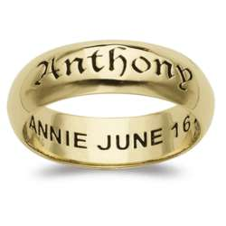 Sculpted Sterling 18K Gold Over Sterling Top-Engraved Name Band
