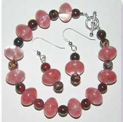 Beaded Glass and Jasper Bracelet and Earrings