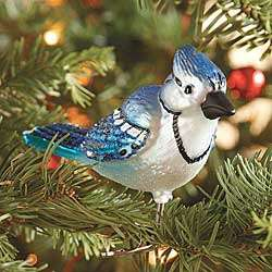Old World Glass Blue Jay Ornament